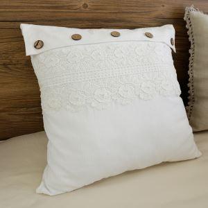 (Entrepôt UE) Village américain dentelle collure Beige coton lavé coussin oreiller 45*45cm