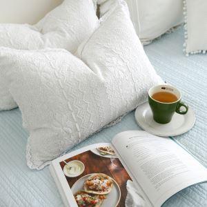(Entrepôt UE) Village américain dentelle en coton oreiller lombaire enfant Coussins de lit