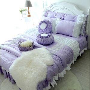 (Entrepôt UE) Village américain en coton style de princesse violet set 4