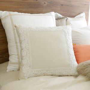 (Entrepôt UE) Village américain dentelle collure beige oreiller en blanc 45*45cm