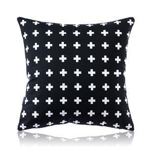 (Entrepôt UE) Moderne nordique Ultra-doux velours Motif de croix noir coussin oreiller canapé