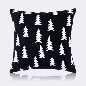 (Entrepôt UE) Moderne nordique Ultra-doux Motif en velours noir et blanc de pin coussin oreiller canapé