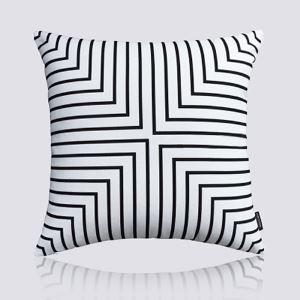 (Entrepôt UE) Moderne nordique Ultra-doux velours bande noir et blanc coussin oreiller canapé