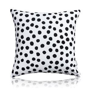 (Entrepôt UE) Moderne nordique Ultra-doux velours Pois noir et blanc coussin oreiller canapé