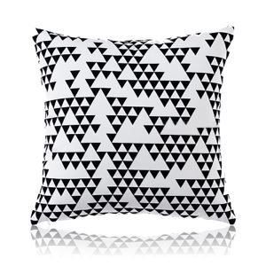 (Entrepôt UE) Moderne nordique Ultra-doux velour sgéométrie noir et blanc coussin oreiller canapé