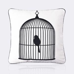 (Entrepôt UE) Moderne nordique Ultra-doux velours noir et blanc Motif de cage coussin oreiller canapé