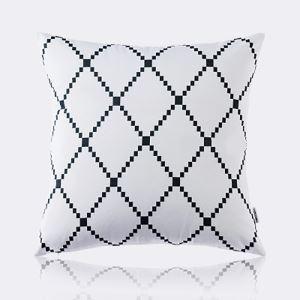 (Entrepôt UE) Moderne nordique Ultra-doux velours noir et blanc treillis Motif de diamant coussin oreiller canapé