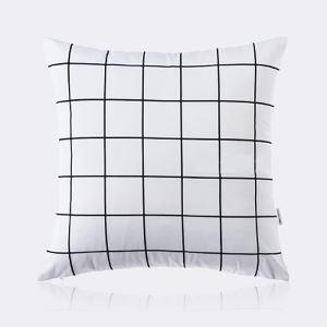 (Entrepôt UE) Moderne nordique Ultra-doux velours noir et blanc treillis coussin oreiller canapé
