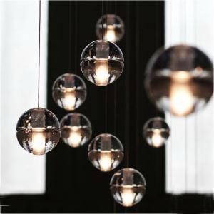 Style moderne simple Suspension balle cristal verre processus de placage coloris transparent 5 ou 7 lumières