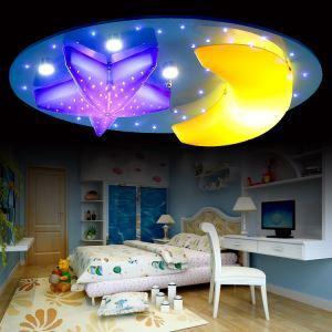 LED plafonnier acrylique processus de peinture coloris bleu rose 7 lumières lune étoile pour enfants