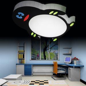 Style moderne simple LED plafonnier acrylique forme pingouin noir blanc en fer processus de peinture