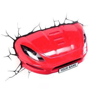 Style moderne simple mode LED 3D Applique murale créative forme de voiture rouge