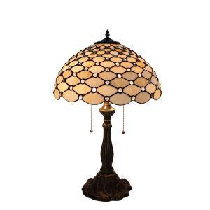 (Entrepôt UE)16 inch Lampe de table style rétro européen Abat-jour en verre à motif de maille  luminaire pour salon chambre salle à manger