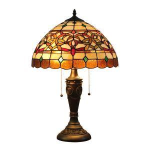 (Entrepôt UE)16 inch Lampe de table style rétro européen abat-jour en verre de couleur luminaire pour salon chambre salle à manger