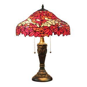 (Entrepôt UE)16 inch Lampe de table style rétro européen Abat-jour en verre à motif de feuille d'érable rouge luminaire pour salon chambre salle à manger