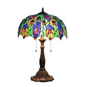 (Entrepôt UE)16 inch Lampe de table style rétro européen Abat-jour en verre à motif des feuilles colorées luminaire pour salon chambre salle à manger