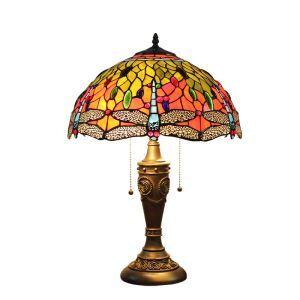 (Entrepôt UE)16 inch Lampe de table style rétro européen Abat-jouren verre à motif de libellule luminaire pour salon chambre salle à manger