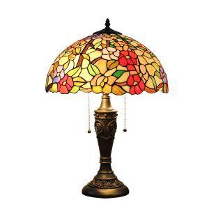 (Entrepôt UE)16 inch Lampe de table style rétro européen Abat-jour en verre de couleur à motif des fleurs luminaire pour salon chambre salle à manger