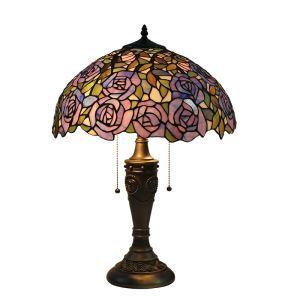 (Entrepôt UE)16 inch Lampe de table style rétro européen Abat-jour en verre à motif de rose violet luminaire pour salon chambre salle à manger