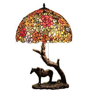(Entrepôt UE)16 inch Lampe de table style rétro européen cheval de base Abat-jour en verre de couleur à motif des fleurs luminaire pour salon chambre salle à manger