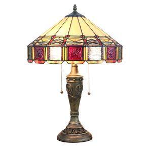 (Entrepôt UE)16 inch Lampe de table style rétro européen Abat-jour en verre à motif de yourte luminaire pour salon chambre salle à manger