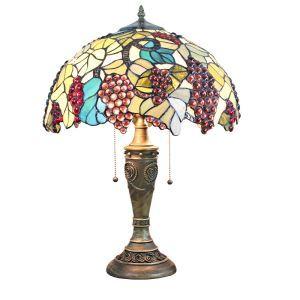 (Entrepôt UE)16 inch Lampe de table style rétro européen Abat-jour en verre à motif des raisins luminaire pour salon chambre salle à manger