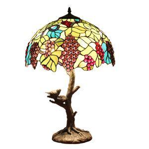 (Entrepôt UE)16 inch Lampe de table style rétro européen tronc d'arbre&petit oiseau de base Abat-jour en verre à motif des raisins luminaire pour salon chambre salle à manger