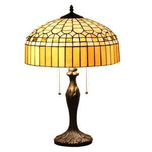 (Entrepôt UE)16 inch Lampe de table style rétro européen Abat-jour en verre à motif du Palais de cristal luminaire pour salon chambre salle à manger
