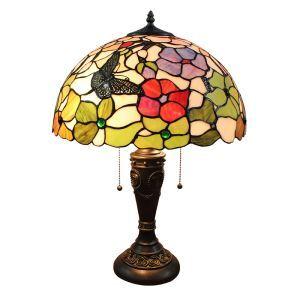 (Entrepôt UE)16 inch Lampe de table style rétro européen Abat-jour en verre à motif de fleur et papillon luminaire pour salon chambre salle à manger