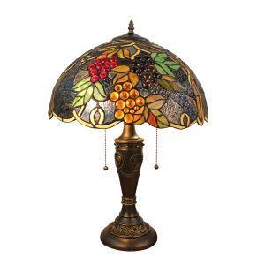 (Entrepôt UE)16 inch Lampe de table style rétro européen Abat-jour en verre de couleur à motif des raisins luminaire pour salon chambre salle à manger