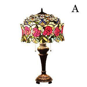 (Entrepôt UE)16 inch Lampe de table style rétro européen Abat-jour en verre de couleur à motif des fleurs luminaire pour chambre salon salle à manger