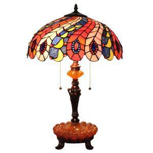 (Entrepôt UE)16 inch Lampe de table style rétro européen Abat-jour en verre coloré pteris luminaire pour salon chambre salle à manger