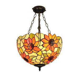 (Entrepôt UE)16 inch Suspension style rétro jardin européen luminaire Abat-jour en verre de couleur à motif de lotus pour salon chambre salle à manger cuisine