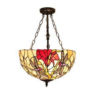 (Entrepôt UE)16 inch Suspension style rétro jardin européen luminaire Abat-jour en verre couleur à motif des libellules et fleurs rouge pour salon chambre salle à manger cuisine