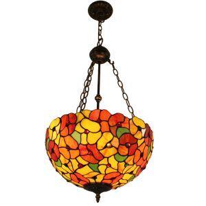 (Entrepôt UE)16 inch Suspension style rétro jardin européen luminaire Abat-jour en verre de couleur à motif des fleurs pour salon chambre salle à manger cuisine