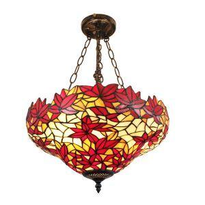 (Entrepôt UE)16 inch Suspension style rétro jardin européen luminaire Abat-jour en verre couleur motif des feuilles d'érable rouge pour salon chambre salle à manger cuisine