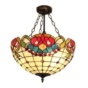 (Entrepôt UE)16 inch Suspension style rétro jardin européen luminaire Abat-jour en verre de couleur pour salon chambre salle à manger cuisine