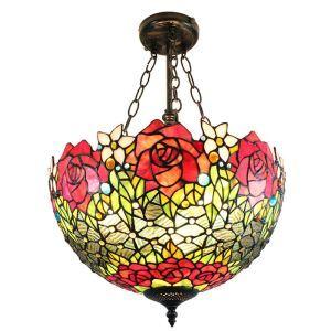 (Entrepôt UE)16 inch Suspension style rétro jardin européen luminaire Abat-jour en verre à motif des roses pour salon chambre salle à manger cuisine