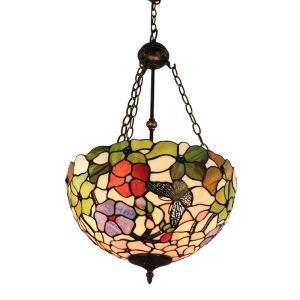 (Entrepôt UE)16 inch Suspension style rétro jardin européen luminaire Abat-jour en verre à motif de papillon et fleur pour salon chambre salle à manger cuisine