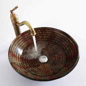 (Entrepôt UE)Style rétro bassin lavabo vasque circulaire en verre multicolore rayures carreau pour salle de bain