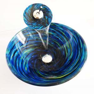 (Entrepôt UE)Style moderne simple lavabo robinet ensemble circulaire en verre trempé à motif spirale bleue pour salle de bain