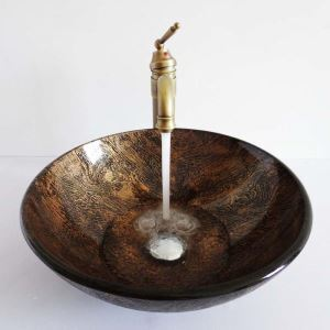 (Entrepôt UE)Style rétro lavabo vasque circulaire en verre multicolore rayure brun pour salle de bain