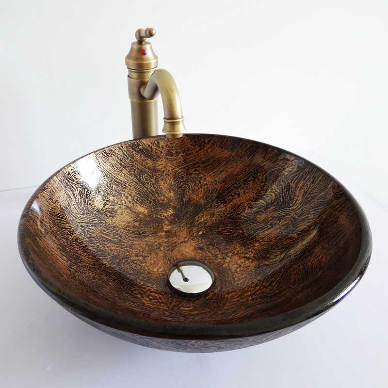 Style r tro lavabo vasque circulaire en verre multicolore for Lavabo salle de bain en verre