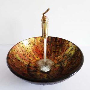(Entrepôt UE)Style rétro lavabo vasque circulaire en verre multicolore coloris d'or et rouge pour salle de bain