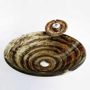 (Entrepôt UE)Style rétro lavabo robinet ensemble circulaire en verre rayure cercle deux couleurs pour salle de bain