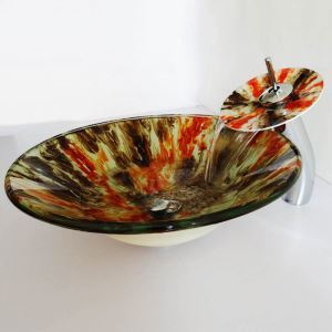 (Entrepôt UE)Style moderne simple lavabo robinet ensemble circulaire en verre trempé à motif multicolore pour salle de bain