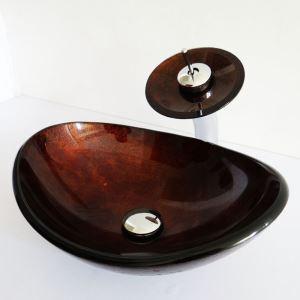 (Entrepôt UE)Style rétro lavabo robinet ensemble ovale en verre trempé coloris brun rougeâtre pour salle de bain