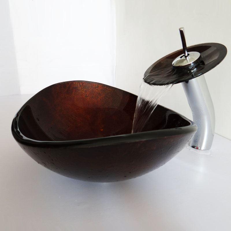 Entrep t ue lavabo vier robinet ensemble ovale en verre for Lavabo salle de bain en verre