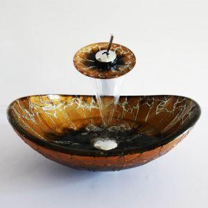 (Entrepôt UE)Style moderne simple robinet et lavabo oval ensemble en verre trempé coloris d'or et noir pour salle de bain