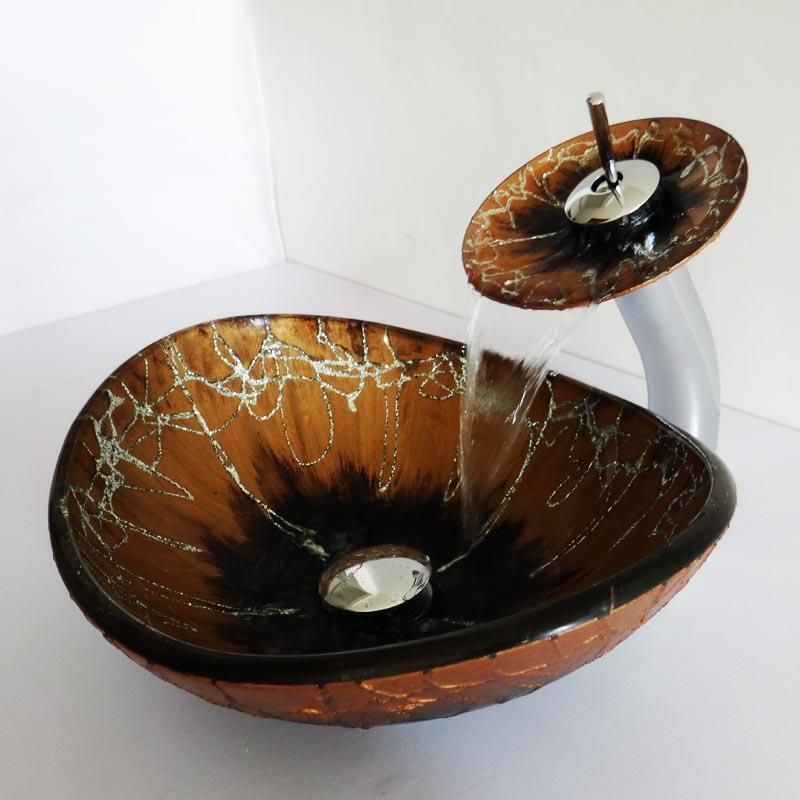 lavabo oval en verre tremp d 39 or et noir avec robinet pour salle de bains toilettes. Black Bedroom Furniture Sets. Home Design Ideas